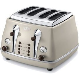 DeLonghi CTOV4003BG Icona Vintage Toster Beżowy, 1800 W, na 4 tosty
